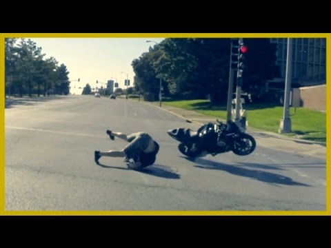 Biker Wrecks Burnout Through Street Intersection