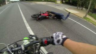 Honda Grom Crash on the streets stunting