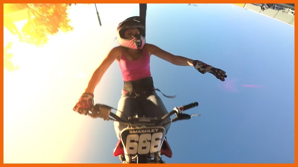 Hot Girl Wrecks Dirt Bike Attempting to Front Flip 3 Times
