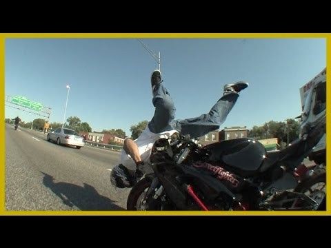 Motorcycle Stunt Rider Crashes Motorcycle During Highway Wheelie
