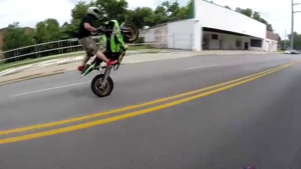 Stretched motorcycle wheelie